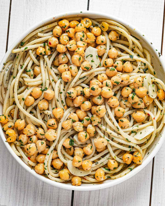 Garlic spaghetti, crispy chickpeas and fresh herbs.