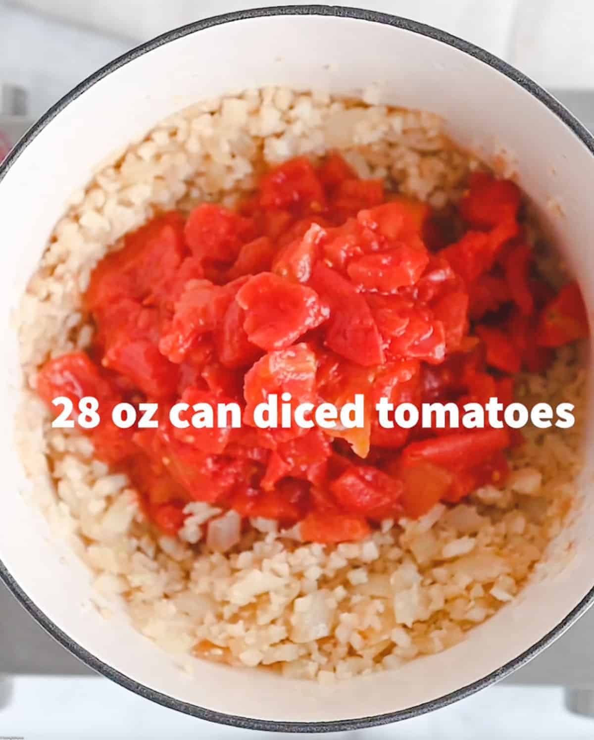 Canned diced tomatoes are used to make this recipe.