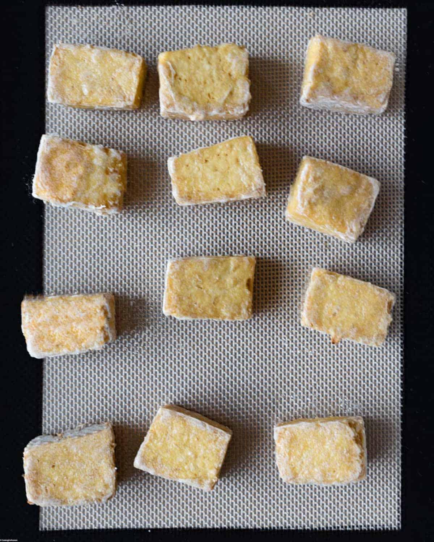 Crispy, golden brown baked tofu.