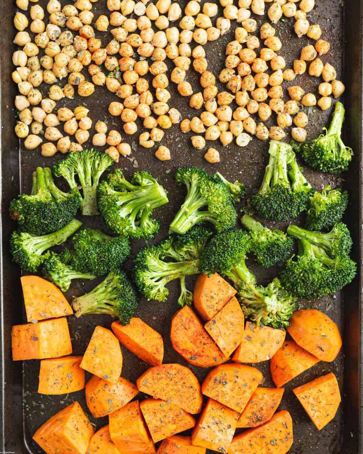 Baking sheet with roasted veggies and chickpeas.