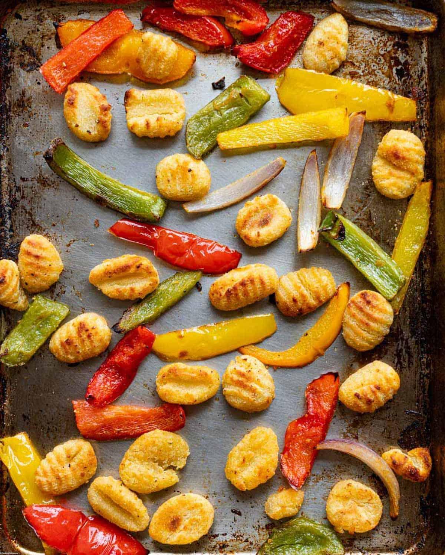 Roasted Gnocchi, Tofu & Veggies on a sheet pan.