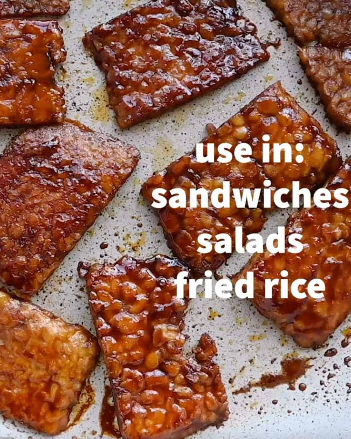 Pan fried tempeh slices in a saucy, red marinade.