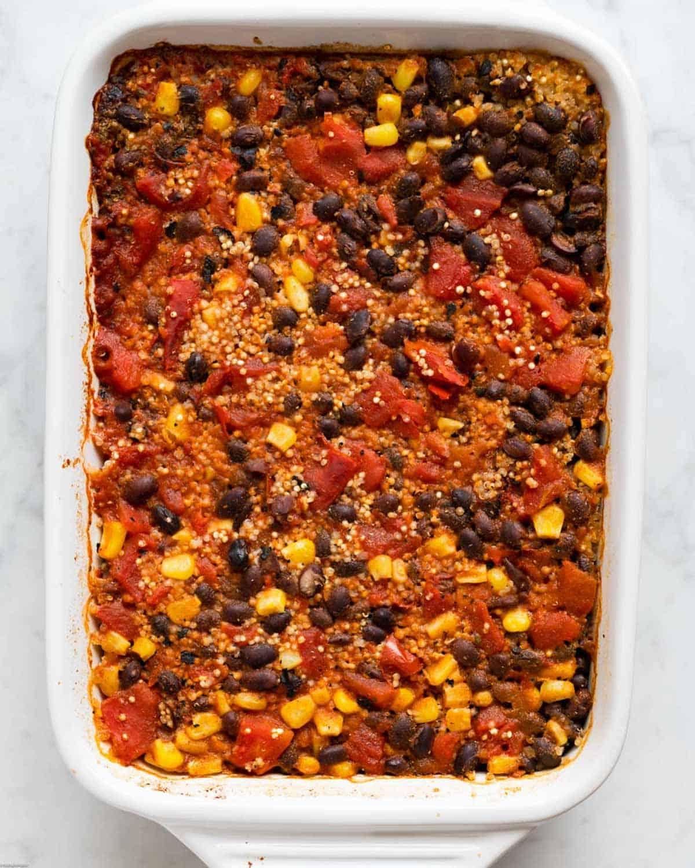 Bake Vegan Mexican Quinoa casserole.