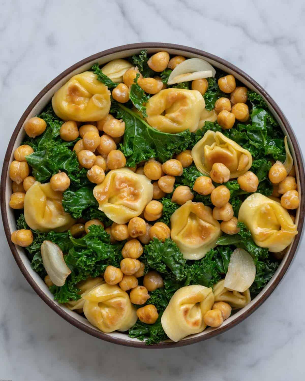 Crispy Tortellini & Chickpea Kale Salad.