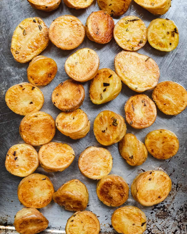 Crispy roasted baby yellow potatoes