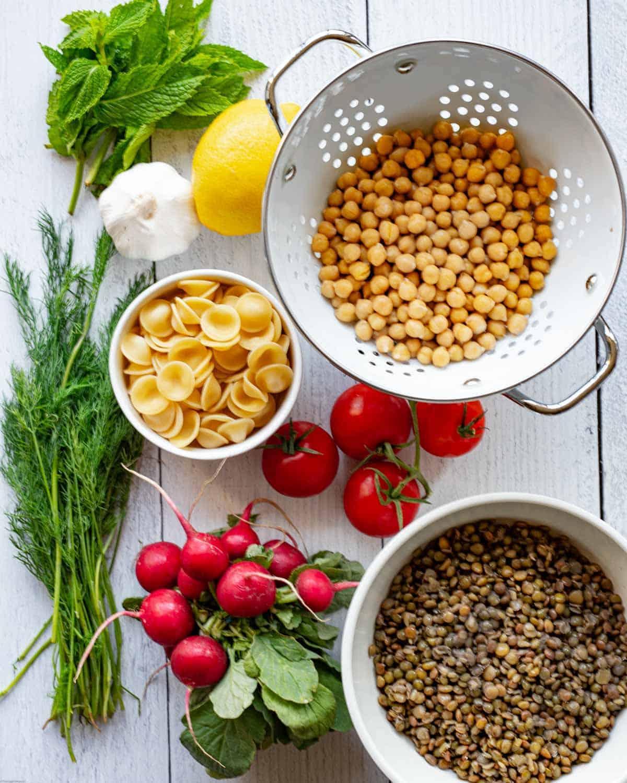 Radishes, green lentils, mint leaves, fresh dill, lemon, garlic, chickpeas, pasta, and tomatoes.