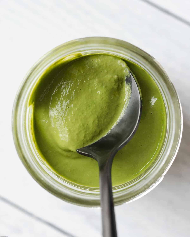 Oil-free green basil pesto.