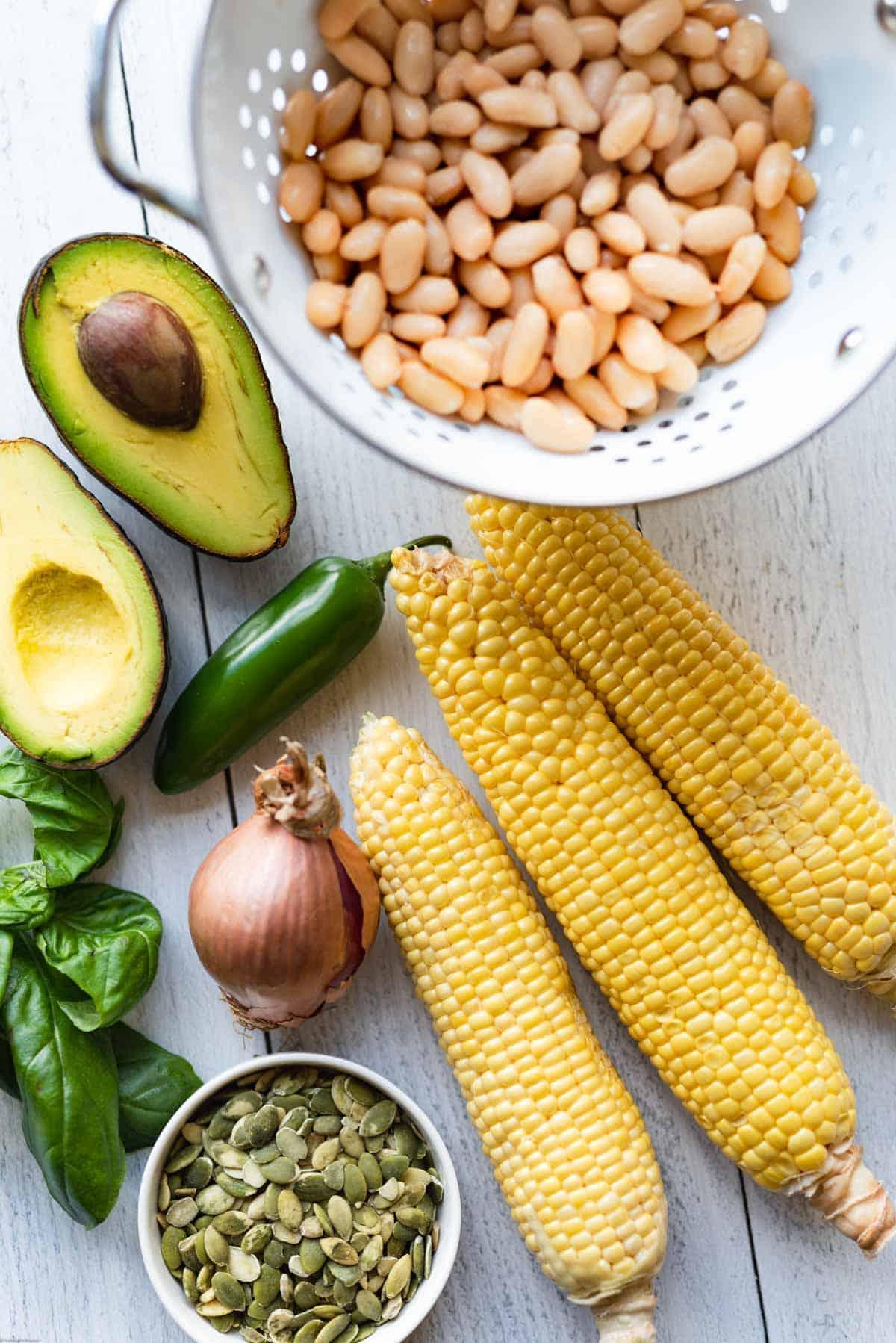 White beans, corn, shallot, pepitas, jalapeno, avocado and basil for High-Protein Bean & Corn Salad.