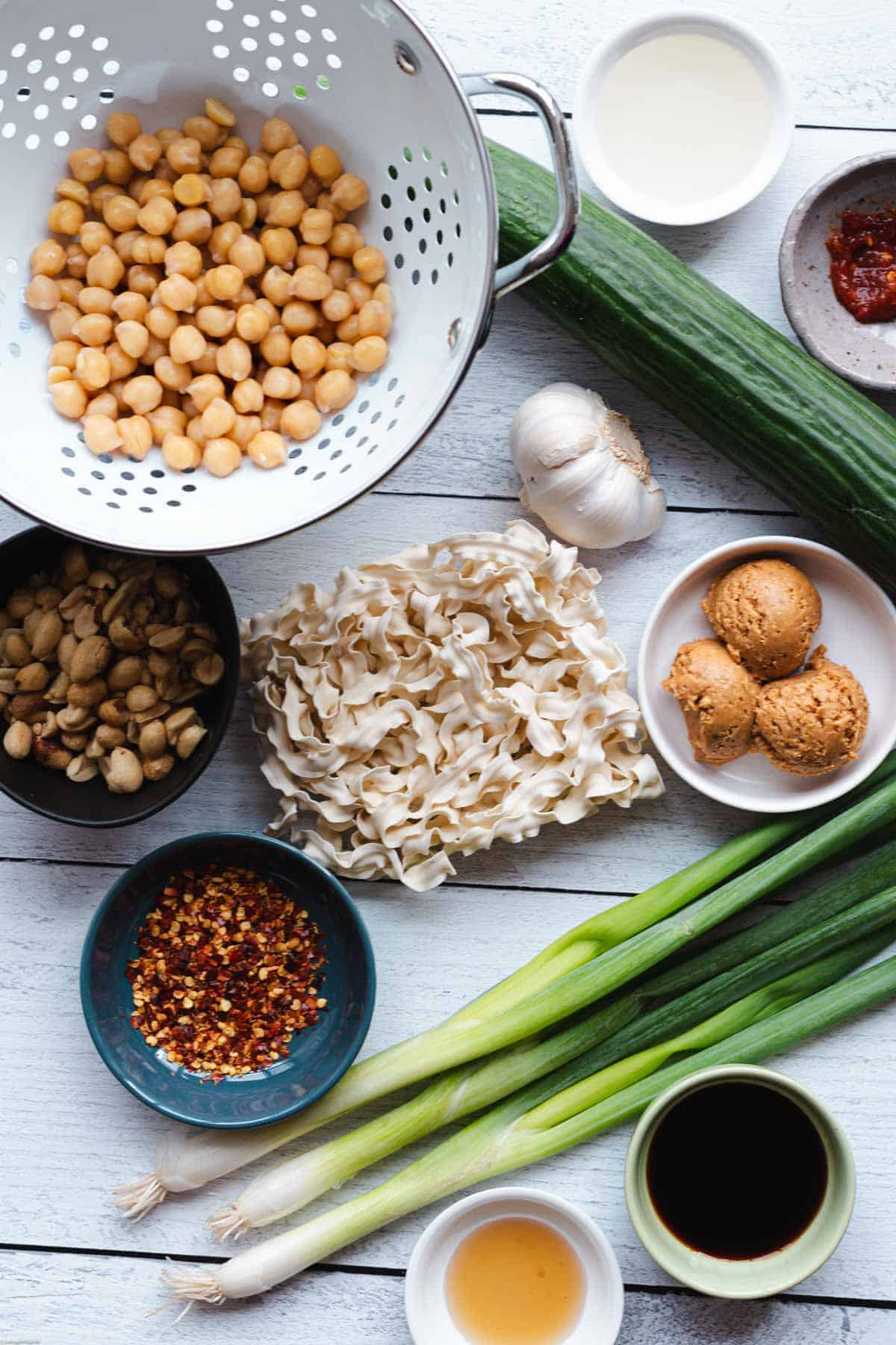 Ingredients for Peanut Noodle Salad with Chickpeas.