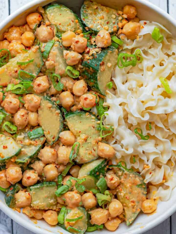 Peanut Noodle Salad with Chickpeas in a bowl.