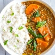 Lentil & veggie curry with sweet potato and baby spinach.