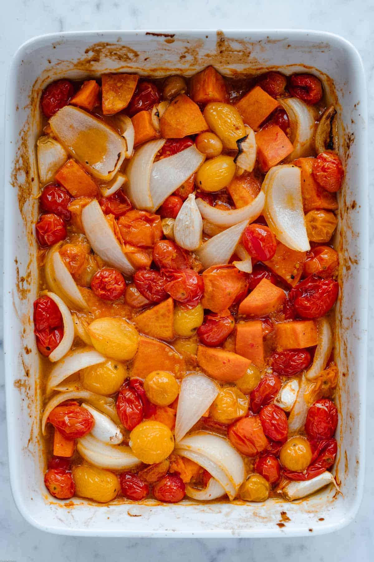 Roasted veggies for the sauce.