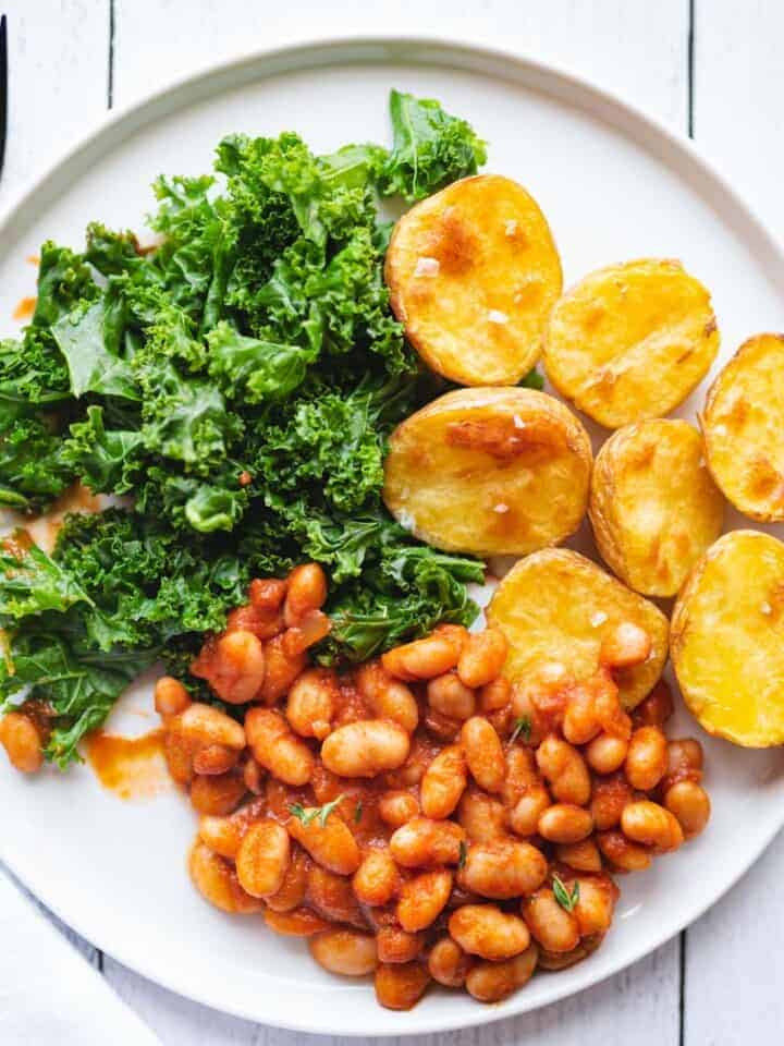 Best Sun-Dried Tomato Beans with Crispy Potatoes and Kale.