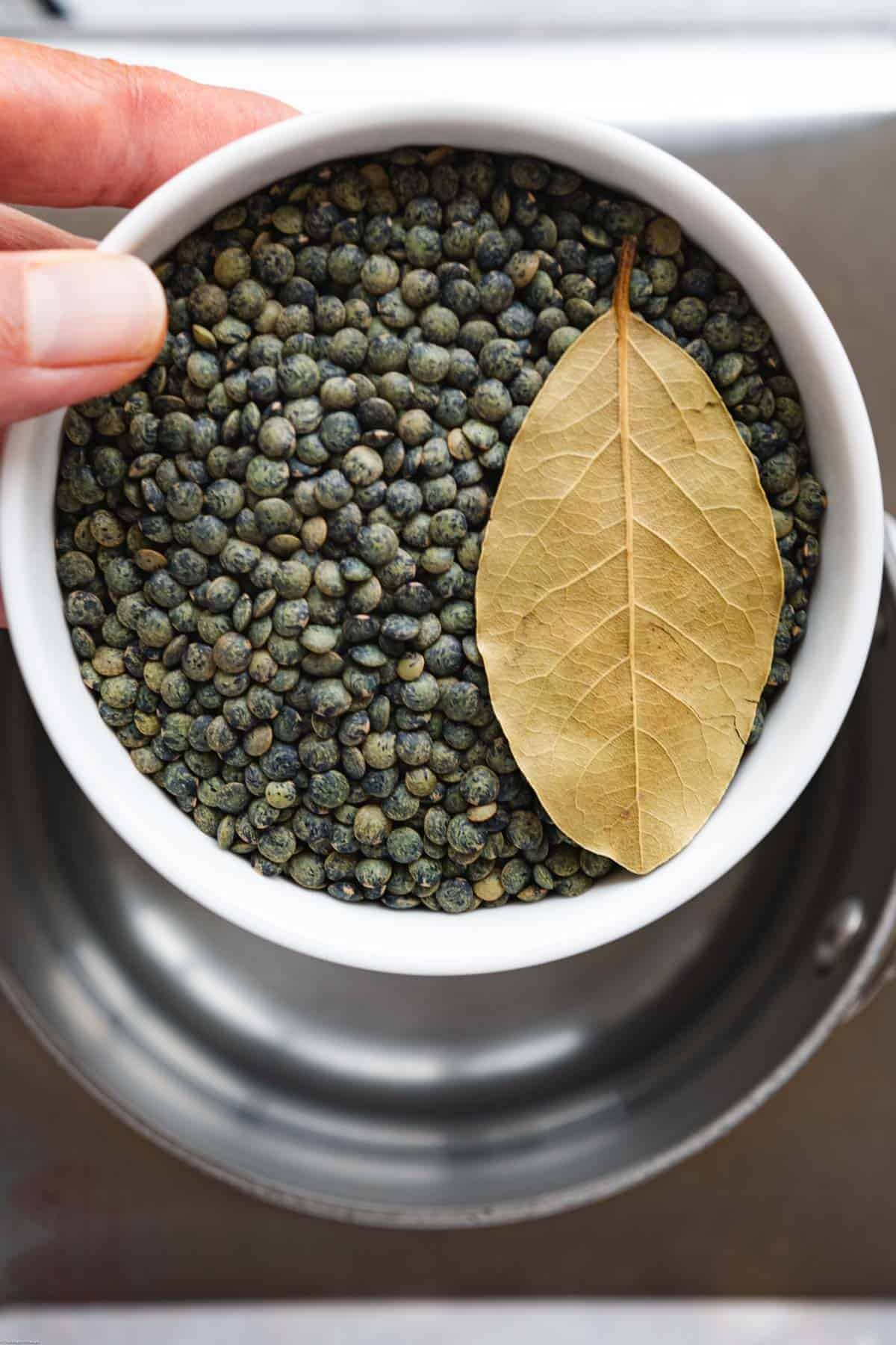 A white bowl with French green lentils, and a bay leaf, above a saucepan with boiling water.