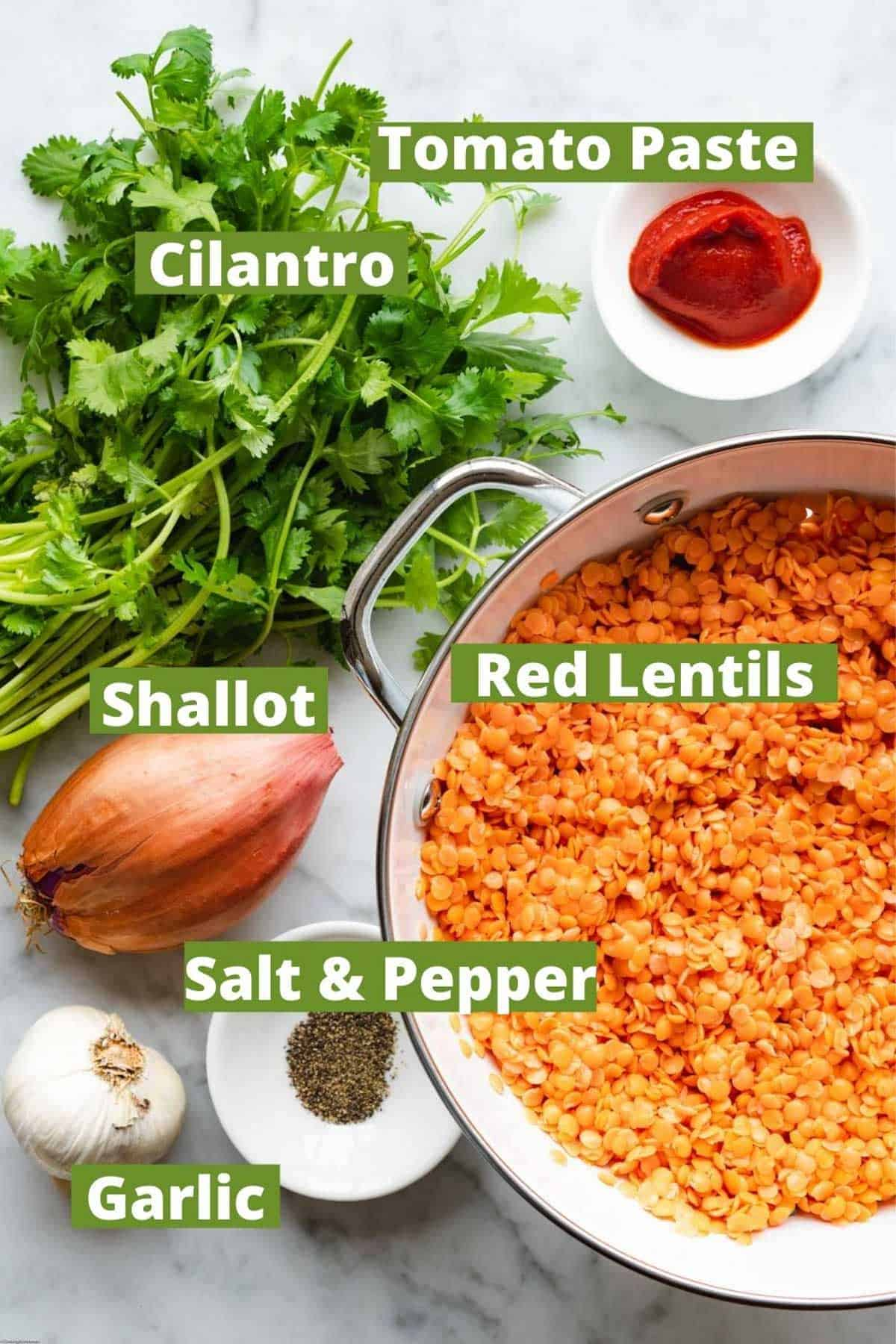Red lentils, carrots, cilantro, shallots, tomato paste, garlic, salt, and pepper for making Easy 6-Ingredient Lentil Burgers.